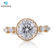 цены DovEggs 14K Yellow Gold Center 1ct carat 6.5mm F Color Moissanite Diamond Halo Engagement Ring For Women Gold Ring with Accents