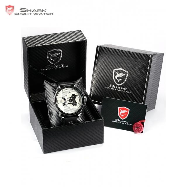Caixa de couro de luxo whale shark sport watch branco dial big envoltório grande estojo de couro banda men quartz militar relógios cronômetro/sh163