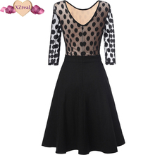 Women Dress Summer 3/4 Sleeve Lace Tunic Work Office 50s rockabilly Vintage Dresses Plus Size 2017 Black blue Sexy Club Dresses