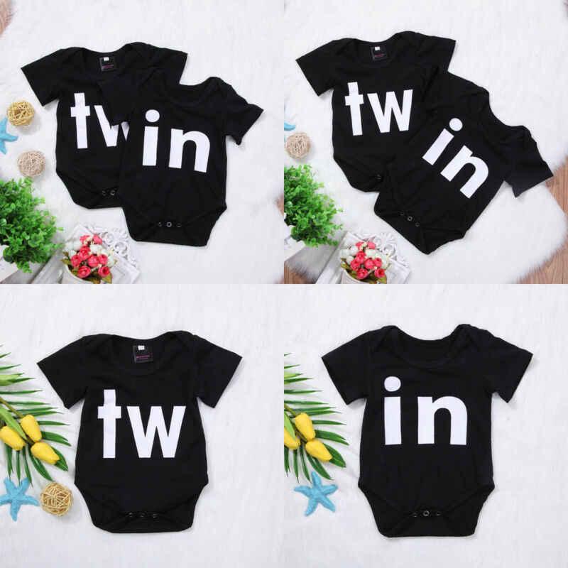 Bebê recém-nascido Da Menina do Menino Infantil Romper Macacão Bodysuit Roupas Gêmeas Roupa de Algodão