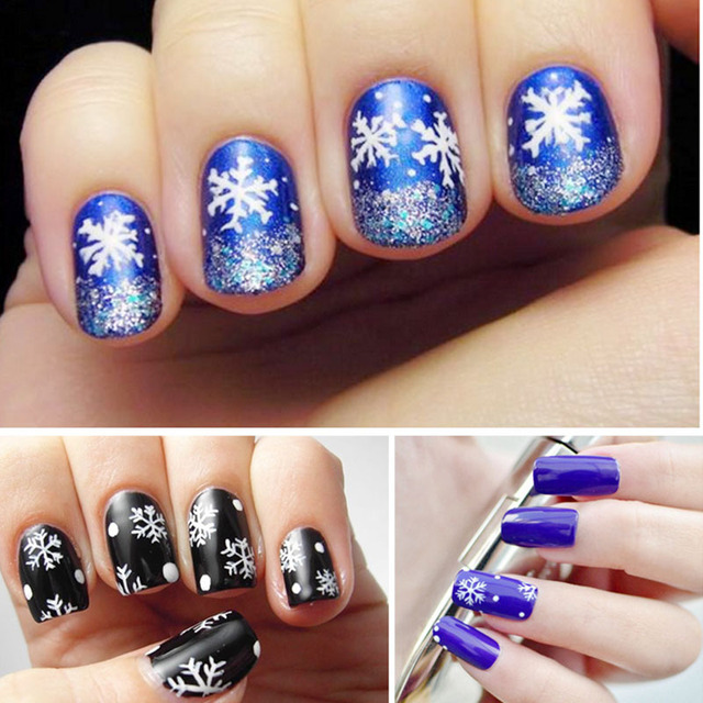 Manzilin 6pcsset White Snowflake Designs Nail Art Glue Transfer