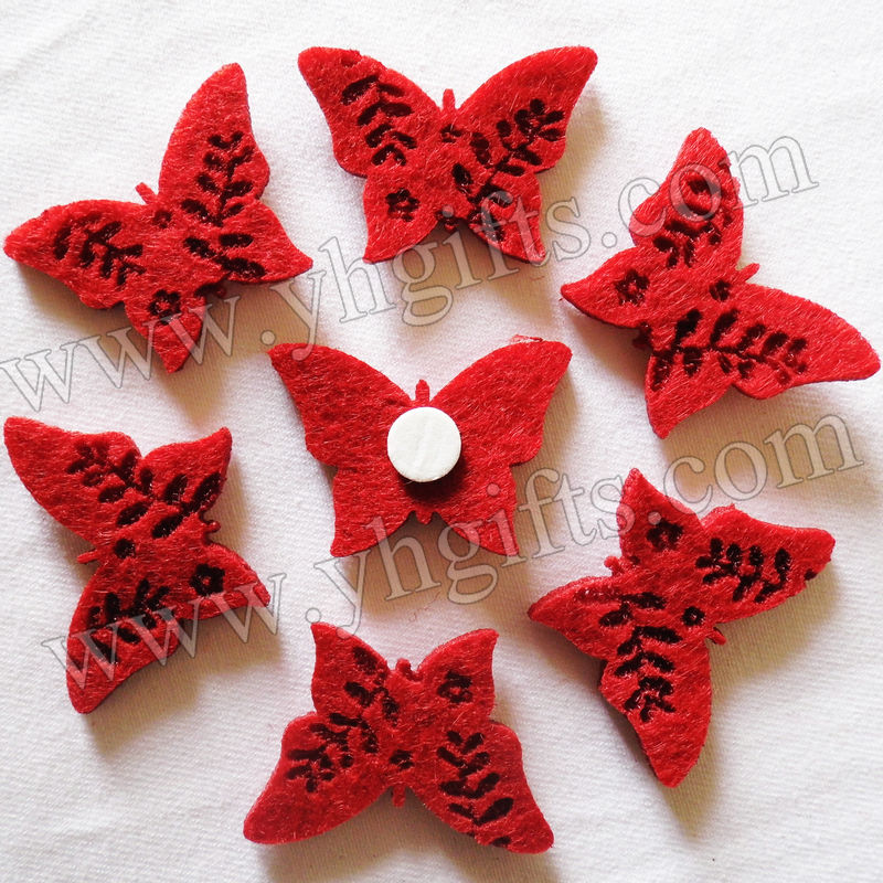 1000PCS/LOT.Red butterfly stickers,Felt stickers,Kids toys,Kids party favor,DIY crafts.Home decoration.1 x 1.4 inches.Wholesale