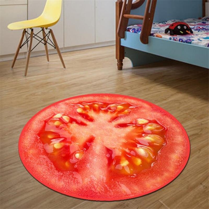 Круглый ковер, фруктовый 3D принт, мягкие ковры, Противоскользящие коврики, коврики для компьютерного стула, Kiwi, арбуз, напольный коврик для детской комнаты, домашний декор - Цвет: D