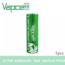 Free shipping 1pcs Vapcell 21700 battery 4200mah 30A rewrap molicel P42A battery rechargeable battery for Electronic Cigarette