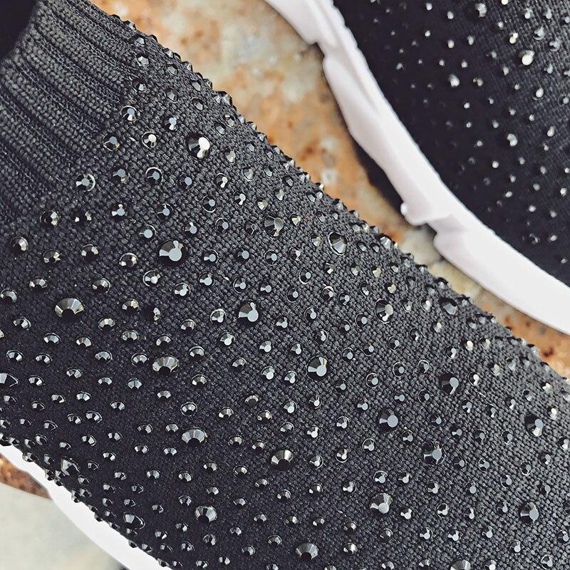 Mocassins Casual On Sneakers Stretch Chaude Noir Dames 127 Slip Chaussette Ins Ac Chaussures Femmes Cristal Appartements Femme Tissé Ectic nBxEZZ