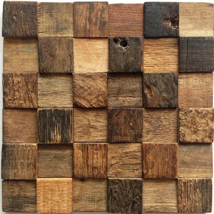 chess borad pattern 3D rustic log old wood mosaic tile kitchen ...