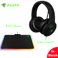 Razer Kraken Essentiële Over-Ear Game Headset + Razer Firefly Chroma Aangepaste Verlichting Hard Gaming Mouse Mat eSports gaming sets