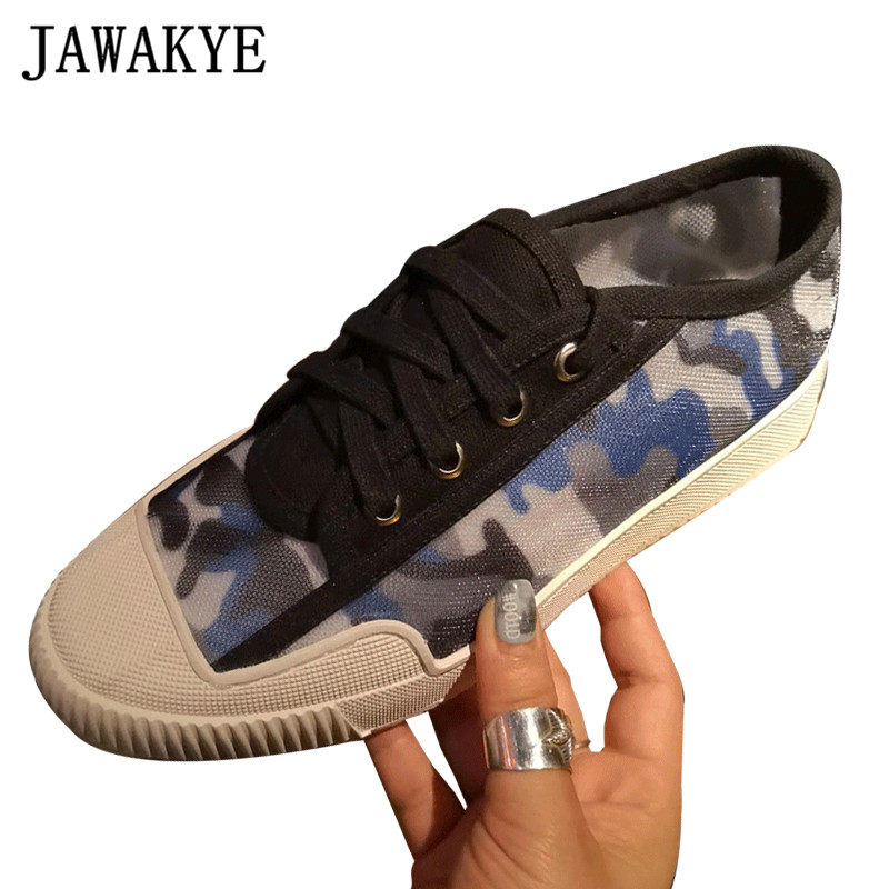 2019 printemps Camouflage air Mesh chaussures plates femmes coquille orteil chaussures à lacets casual mode en cuir véritable respirant baskets