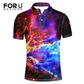 FORUDESIGNS Fashion Men Polo Shirts Slim Fit Short Sleeve galaxy space printed Polo men Clothing Summer breathable Polo Shirts