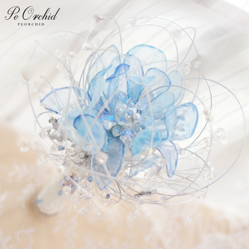 PEORCHID Custom Brooches Bling Wedding Bouquet Blue/Gold Luxury Beach Bride Bouquet Crystal Shell Pearl Starfish Flower Bouquets