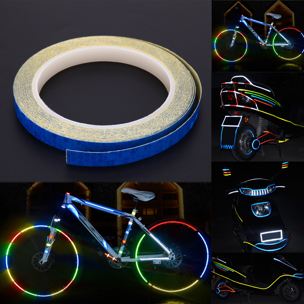 Fluorescent bicycle reflective stickers bike wheel rim decal reflection paster for bicycle motor outdoor cycling sports