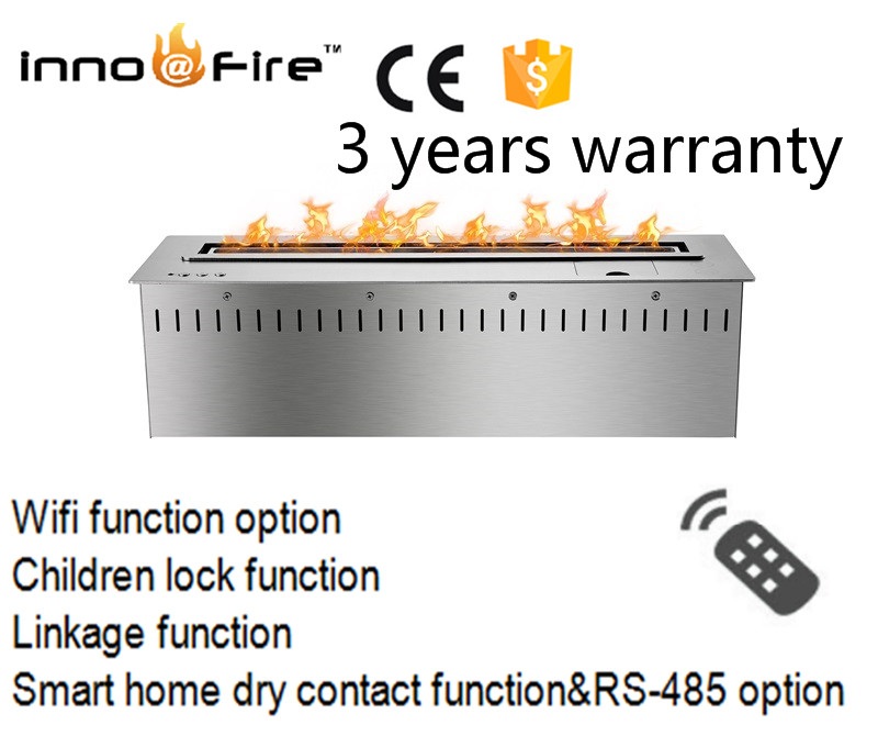 24 Inch Intelligent Wifi Modern Black And Silver Auto  Lareira Stainless Steel Bio Ethanol Fireplace