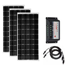 3Pcs Solar Panel 100w 12v Monocrystalline Solar Battery Charger Solar Charge Controller 12v/24v 30A PWM Caravan Car Camping Rv solar panels battery charge controller 12v 24v pwm ls3024b 30amp 30a with mt50 bluetooth function