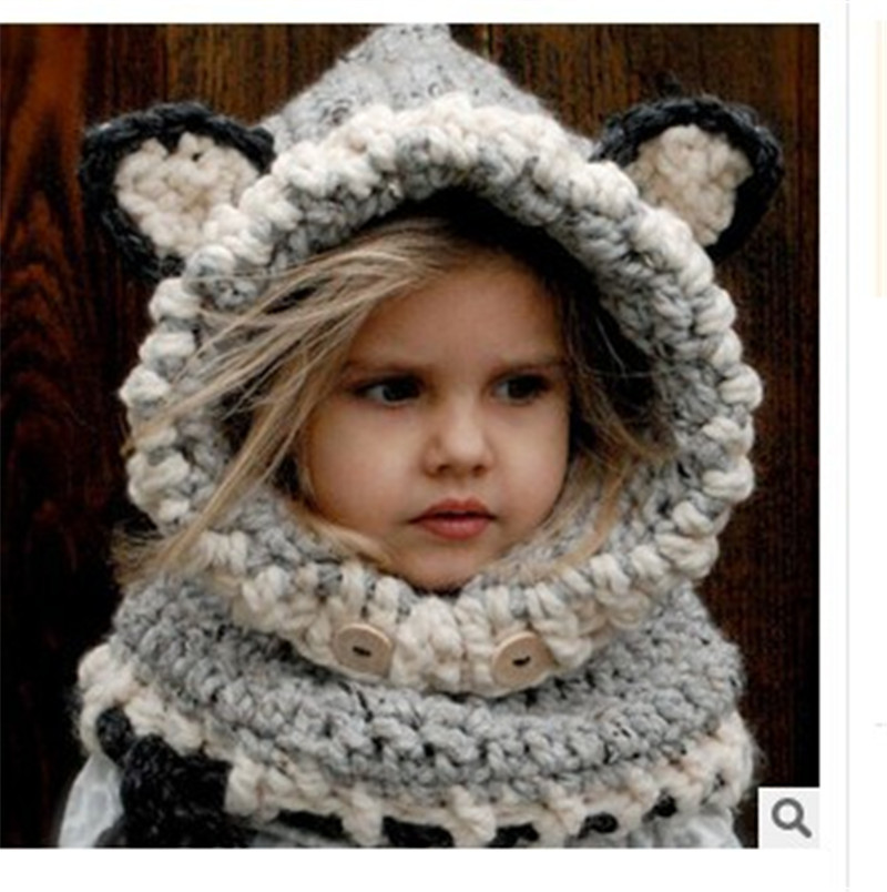 Baby Hat And Scarf Joint With Animal Style Crochet Knitted Caps for Infant Boys Girls Children New Fashion Kids Neck Warmer wb 01 fashion knitting wool collar scarf neck warmer pink