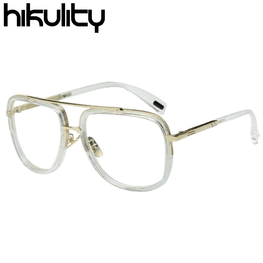 brand design metal flat top men transparent eyewear frames women clear glasses frame optical spectacle glasses