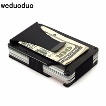 Weduoduo Slim Metal Credit Card Holder With RFID Anti-chief Travel Mini Wallet For Men Card holder Porte Carte Male Wallet