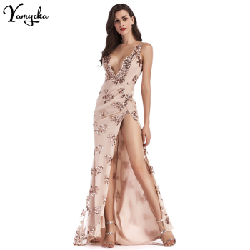 Sexy Deep V Neck Sequin Summer Dress women Evening Backless Luxury Night club Party Dresses Elegant Sling Long Maxi Dress 2020