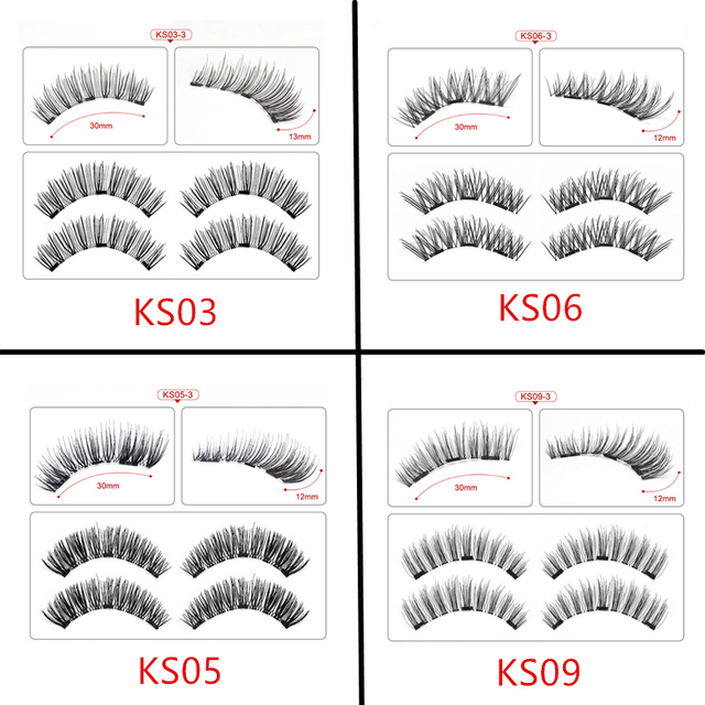 Magnetic eyelashes with 3 magnets handmade 3D/6D magnetic lashes natural false eyelashes magnet lashes with gift box-24P-3 3