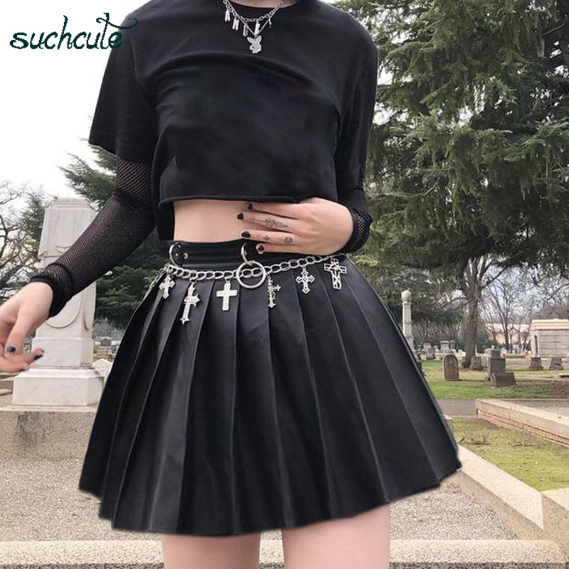 SUCHCUTE Women's Skirt Leather Short-Skirt Fashion 2019 Pleated Skater Micro Mini Skirts Gothic Dancing Korean Style Saia Midi