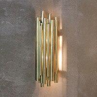 Высококачественный роскошный постмодерн простой промышленный бра винтажный настенный светильник Золотая водопроводная труба настенное о