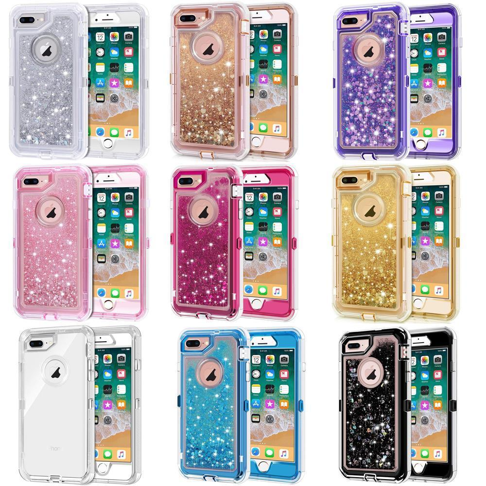 Top Quality For iPhone 8 Plus XR XS Max 7 Glitter Liquid Defender Clear Bling Quicksand