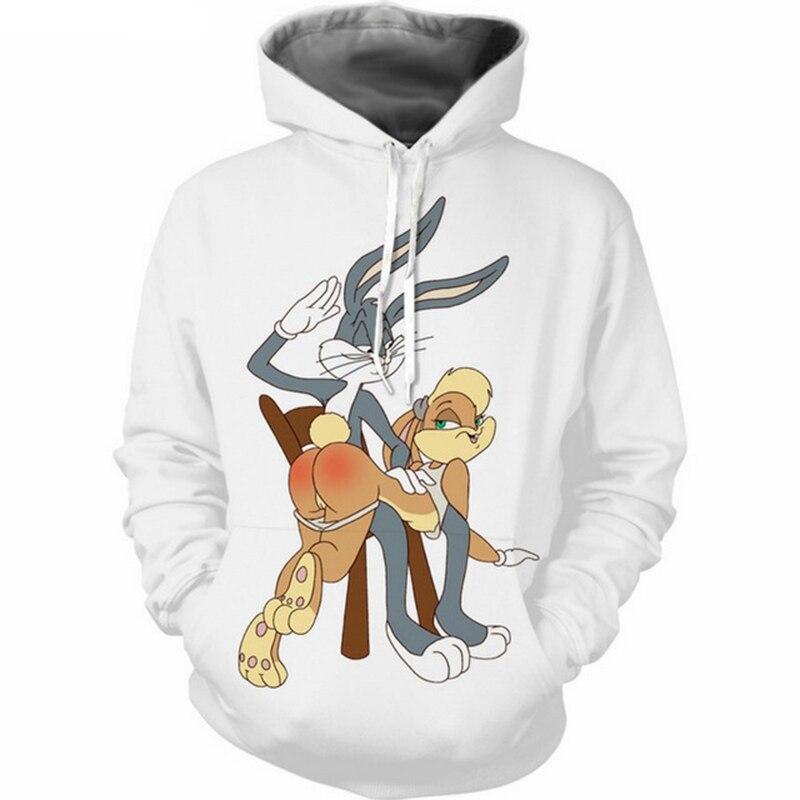 Jumeast Men/Women Hoodies Hoodies Sweatshirts Fashion 3D Print Bugs Bunny Hooded Sweats Tops Streetwear Unisex Funny Pullover