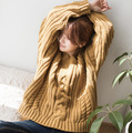 Mujeres Otoño Invierno Suéteres de Punto Jerseys Ladies Grueso Flojo Mori Chica Lindo Color Sólido con cuello en V Suéteres de los Géneros de punto