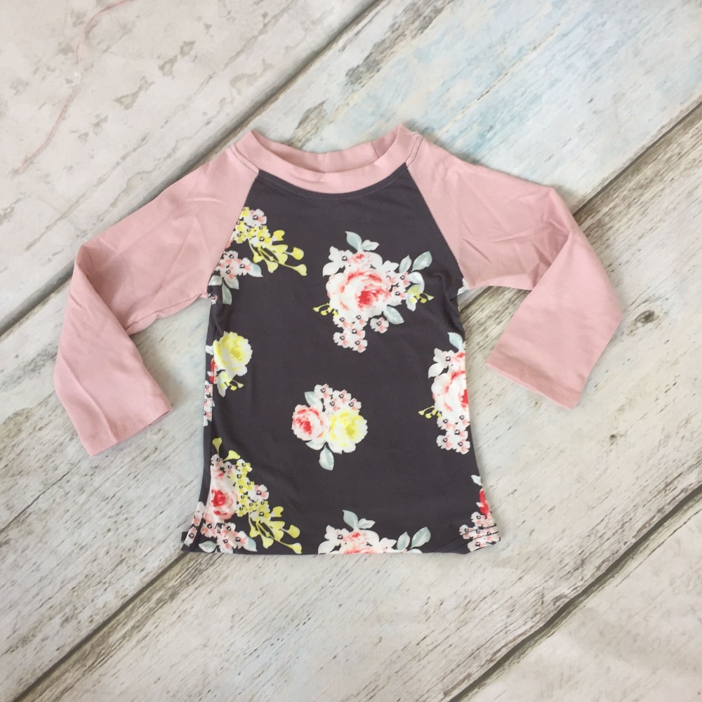 special offer fall/winter baby girls children clothes boutique cotton top t-shirt raglans long sleeve floral pink grey kids wear baby girls back to school top raglans children girls kindergarten mermaid raglans girls lavernder sleeve top raglans outfits