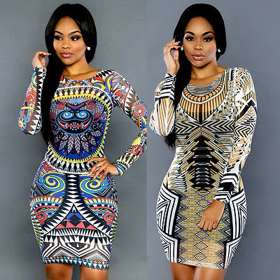077c164fb320 africa Fashion sexy club dress 2016 new women summer bandage dress  celebrity print vintage long sleeve slim party dresses
