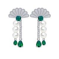 De luxe Ventilateur Forme Long Gland Balancent Boucles D'oreilles pour les Femmes Bohême Simulé Perle CZ Zircon Boucles D'oreilles Mode Bijoux 2017 E299