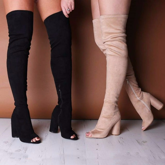 hot selling black stretch fabric over the knee boots sexy open toe chunky heels thigh high boots woman long boots beige недорго, оригинальная цена