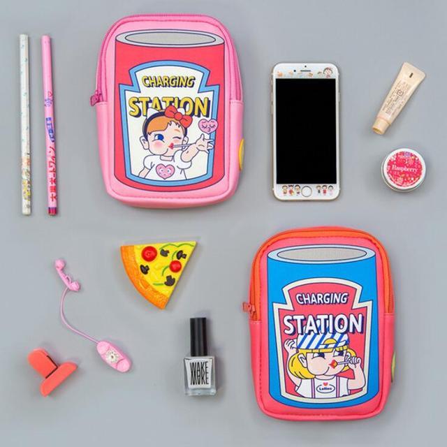 Kawaii Multifunctional Waterproof  PU Desk Organizer Bag Women Travel Passport Storage Bags For Digital Accessories Stationery