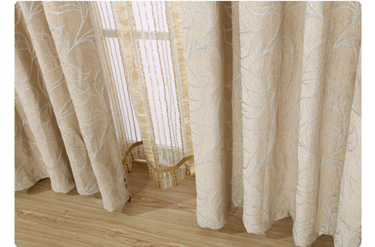 High Grade European Silver Chenille Blackout Window Khaki Curtains With  Buff Gold Jacquard Tulle For The Living Room Bedroom In Curtains From Home  U0026 Garden ...
