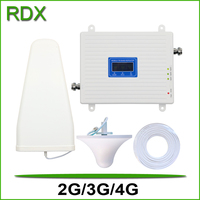 High gain 2g 3g 4g triband cellphone booster gsm900 dcs1800 w-cdma2100 mhz mobile phone repeater amplifier with high quality