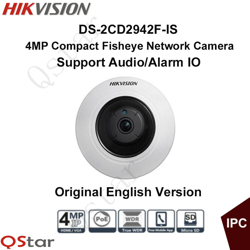 Hikvison Original English Version DS-2CD2942F-IS 4MP Compact Fisheye Network IP Camera POE/Audio/Alarm 8m IR CCTV Camera touchstone teacher s edition 4 with audio cd