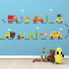 Cartoon Animal Car Wall Stickers Bus Station Home Decorations For Kids Baby Nursery Room Decor Poster Playroom Pvc Mural Decals
