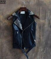 2019 new Korean fashion slim rivet stage essential hip hop hip hop trend of Pu leather vest singer costumes clothing