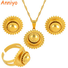 Anniyo Ethiopian Small set Jewelry Necklace Earrings Ring Gold Color African Bridal sets Habesha Eritrea Wedding Sudan #045306(China)