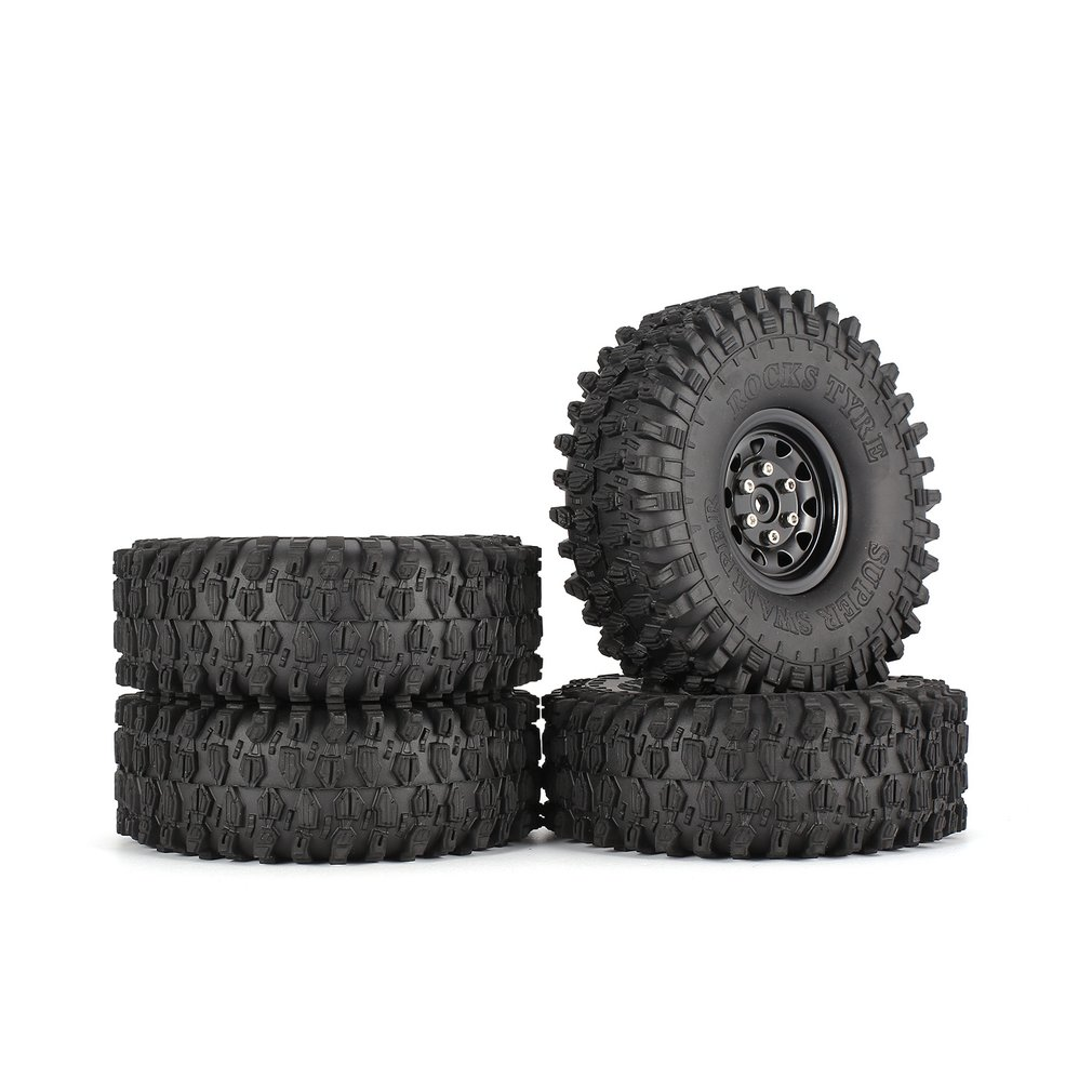 4Pcs 1.9 Inch 120mm Rubber Tires Tire with Metal Wheel Rim Set for 1/10 Traxxas TRX-4 SCX10 RC4 D90 RC Crawler Car Model Parts mxfans rc 1 10 2 2 crawler car inflatable tires black alloy beadlock pack of 4