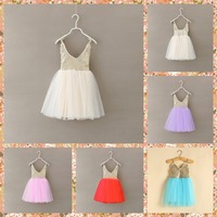 New Hot Children Baby Sequined Lace Sling Mesh Tutu Dresses Girls Party Clothing 5 Pcs Lot
