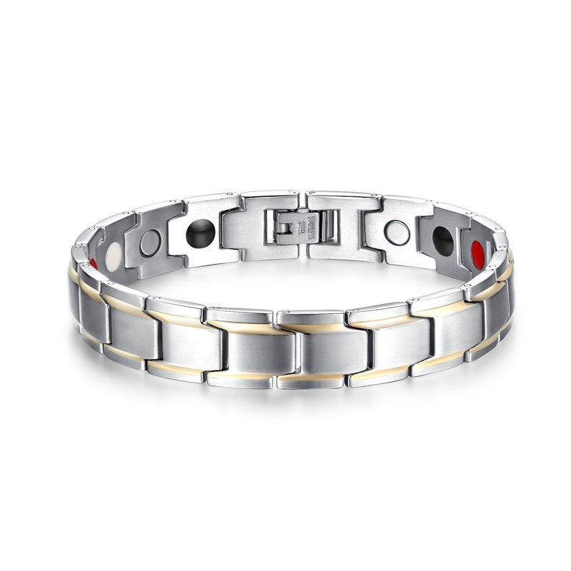 Fashion Men Magnetic Bracelets Silver-color Titanium Steel Healthy Therapy Bracelet for Mens Cuff Bangles Wristband Jewelry