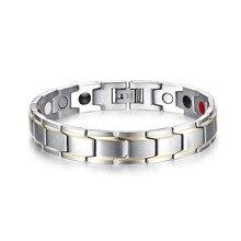 Mprainbow moda hombres pulseras magnéticas terapia saludable pulsera de acero titanium de plata para hombre cuff brazaletes joyas pulsera
