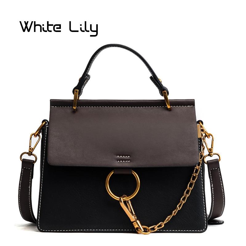 New Circle Chain Shoulder Bag High quality fashion handbag women's single Handbag PU Leather messenger bag Vintage tote bag