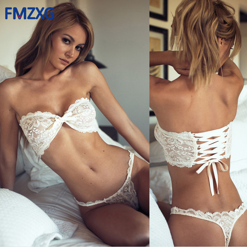 Buy Sexy Lace Bow Triangle Cup Bra Sets Women Wireless Thin Cotton Breathable Comfortable Underwear Solid Color Lingerie Set