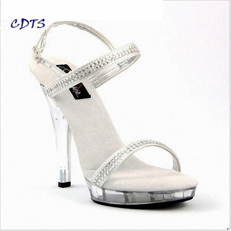 649c02c7f CDTS wedding bride shoes women 2016 summer zapatos mujer 13cm thin heels  Crystal platform Sandals pumps Free shipping Plus 35-46