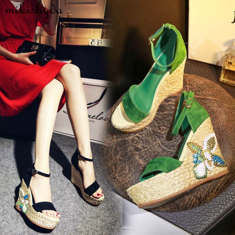 Hottest Summer chaussure cuir verte Thick Sole Sandals Women Espadrille Wedges Platform Sandals Fashion Grass Striped Shoe Women цена