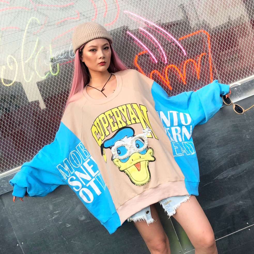 Female Big Size Casual Loose Pullovers Contrast Color Blocked Cartoon Patchwork Design Jumpers Novelty Beading Long