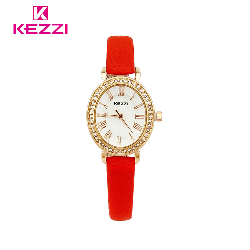 KEZZI Luxury Womens Watches Top Brand Ladies Watch Women Small Oval Dial Rhinestone Red Leather Band Quartz Wrist Watches quartz watch with small diamond dots indicate leather watch band hearts pattern dial for women