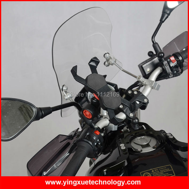 Heavy Duty Motorcycle <font><b>Scooter</b></font> Mirror Mount Rear View Cell <font><b>Phone</b></font> <font><b>Holder</b></font> with Pin-Lock for Gopro and 4-6 Inch Screen Smart <font><b>Phones</b></font>