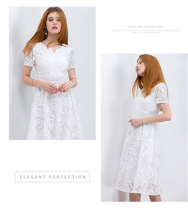 7d17d69e010 Women White Dress Short Sleeve A-Line Midi Party Dress Casual ...